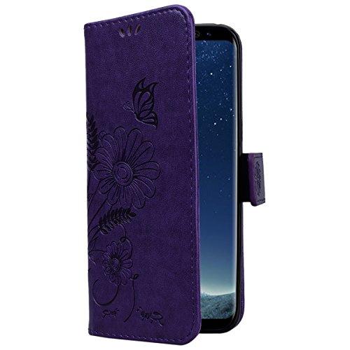 CE-Link Cover Apple iPhone 7, iPhone 7 Case Wallet Card Holder Protective Retro Funzione Stand Fiore e Farfalla, Porta Carte e Protettiva Flip Portafoglio Cover con Chiusa Magnetica per iPhone 7 - Gri Viola