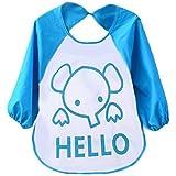 Tongshi Los niños de dibujos animados para niños plástico translúcido suave para bebés baberos impermeables(azul)
