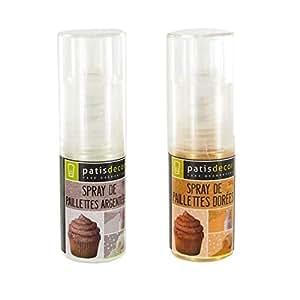 Spray de paillettes argent + or Patisdécor (2 x 10 g).