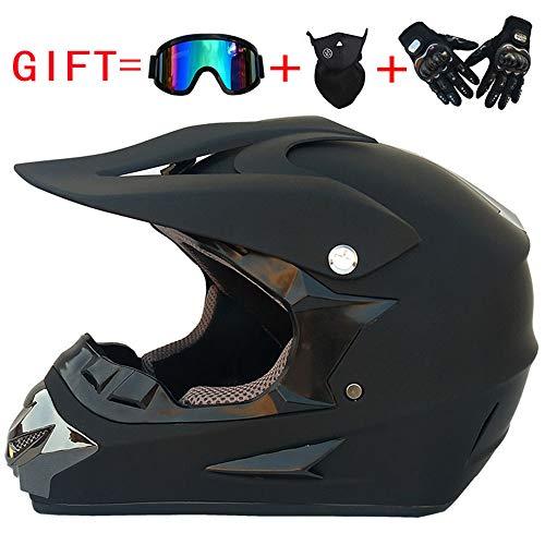 Motocross MTB Helm Herren Motorradhelm DH Motorrad Downhill Fullface Helm Dirt Bike Crosshelm Offroad Cross Mountainbike ATV BMX Quad Enduro Brille Handschuhe Maske, Schwarz,M -