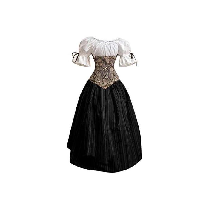 URSING Damen Mittelalter Kleid Retro Renaissance Viktorianisch Kostüm Midi Kleider mit Ausgestellte Ärmel…