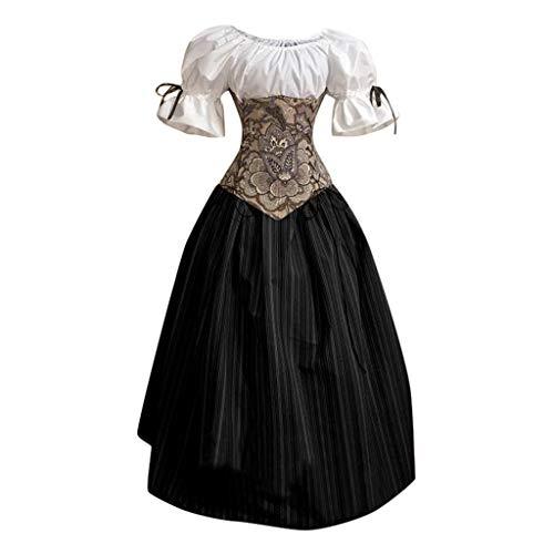 SALUCIA Damen Mittelalter Rokoko Barock Prinzessin Kleid Retro Stick Puffärmel Bodenlanges Kostüm Gewand Renaissance Viktorianisches Kleidung Große Größen Gr.34-48