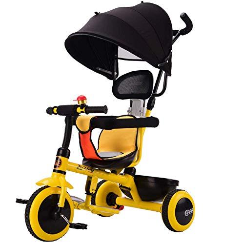 Hejok Triciclo per Bambini con Maniglione, Kids Trike Bike 1-3 Anni 4 in 1 Pieghevole Triciclo per Bambini con Manico Estraibile 3 Ruote Giallo