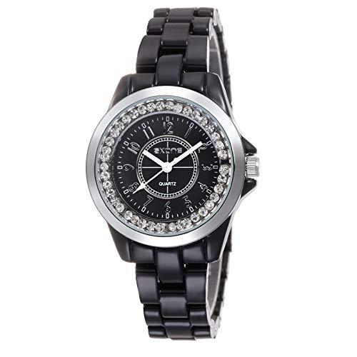 HWCOO Uhren Weiße Keramik Uhren Damen Uhren Diamant Uhren (Color : 4)