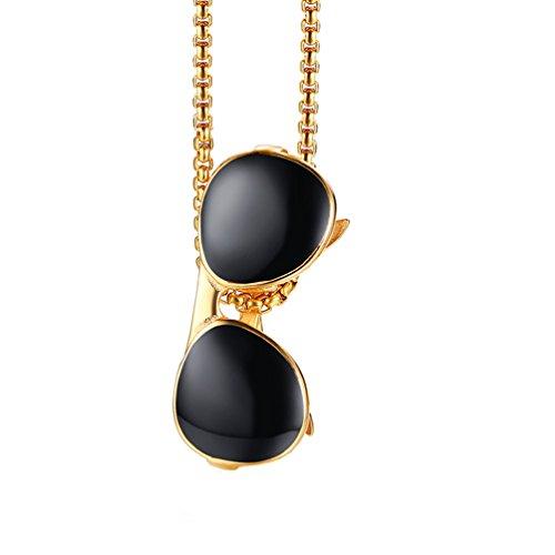 HIJONES Herren Edelstahl Cool Stilvolle Tropfen Kleber Sonnenbrille Charms Anhänger Halskette 2 Farben Gold