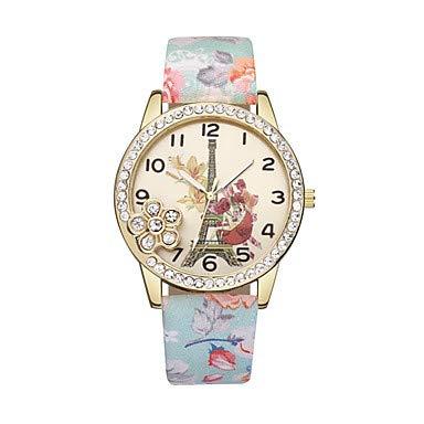 XKC-watches Herrenuhren, Damen Armbanduhr Quartz Eiffelturm Armbanduhren für den Alltag Leder Band Analog Blume Modisch Schwarz/Blau/Rot - Blau Rosa Leicht Grün (Farbe : Gold)
