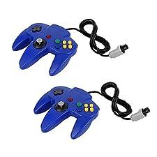 QUMOX 2 x Controlador de juego Joystick Mando de juego para Nintendo 64 N64 System GamePad, Azul