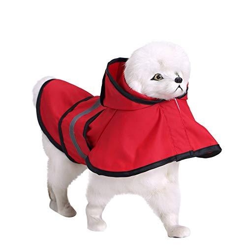 JKRTR Haustier Hund Kapuze wasserdichte Jacke für Welpen mit Kapuze und reflektierendem Regenmantel(Rot,XXL)