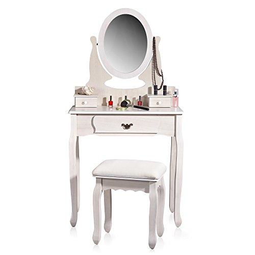 Make-up-bank (Melko® Schminktisch mit Spiegel + Polster-Hocker, shabby chic, weiß, Frisiertisch Kosmetiktisch)