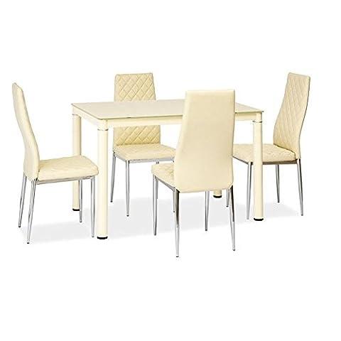 JUSThome Galant Esszimmertisch Küchentisch Esstisch Creme 75x70x110 cm