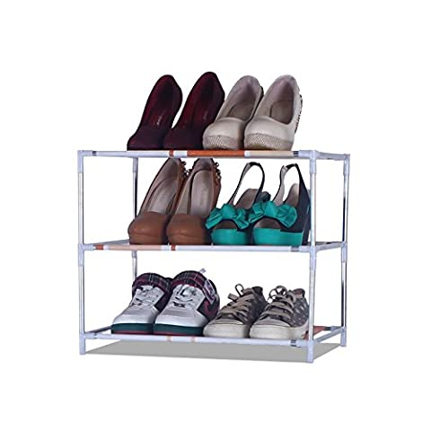 HJFF-Simple single row steel pipe rack dustproof shoe shoes shelf storage multilayer Mini assembly,Three layer rack