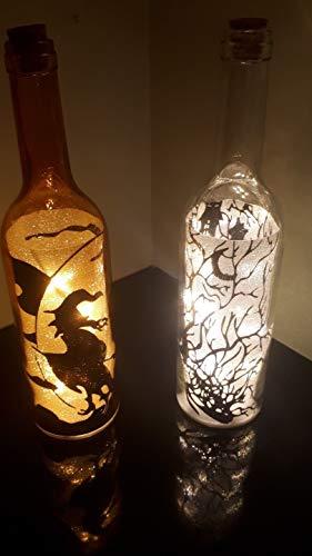 B-Creative Halloween-Party-Requisite, 2 x Beleuchtete Weinflaschen, Hexe, Eerie, Friedhof, Kinder, Büro, Haus, Deluxe Dekor