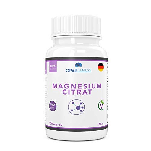 Magnesium Citrat Tabletten | 150mg Formel mit hoher biologischer Verfügbarkeit | Ergänzungsmittel für gesunde Zähne, Knochen, Nervensystem und sportliche Leistung | 120 Tabletten | OPAL Fitness -