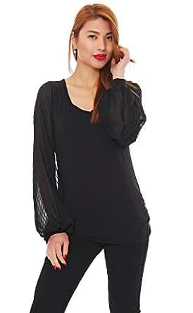 114 Japan Style von Mississhop Damen Bluse mit plissierten Chiffon Ärmeln Schwarz S