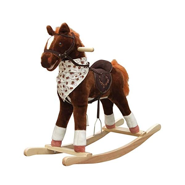 Rocking Horse Kid Wooden, With Sound Plush, Baby Rocker, For Baby 3 Months The Above,Brown  ✔Safe Material:Plush Fabric Is Soft, Stain-Resistant And Non-Toxic. Plush Fabric Sewing Are Neatly Done, Stains Can Be Removed By Wet Rag With Baking Soda Powder. The PP Cotton Used Is Breathable In Summer. ✔Safety Certified:All Paints Materials Used For This Rocking Horse Are Lead-Free, We Promise To Offer Safe Product And We Strongly Advocate Toys Made Of Natural Materials Like Wood And Cotton. ✔Product Structure:Solid Wood Are Used To Structure But Not Too Heavy,The Wooden Structure And Rails Are Rounded And Examined Manually, To Give A Smooth Surface, Not To Scratch Kids' Clothes And Skin. 1