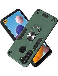 FAWUMAN Funda para Samsung Galaxy A21 Soft TPU + Duro PC Doble Parachoques Cubierta a Anillo Soporte con Soporte y Carcasa Desmontable, Funda Protectora Serie Armadura (Verde Oscuro)