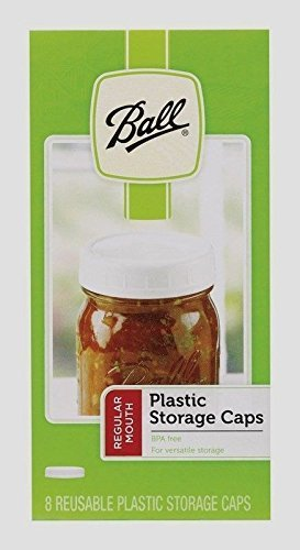 New! Box of 8 Ball Regular Mouth Plastic Storage Lids Mason Canning Jar Caps NIB by Ball -
