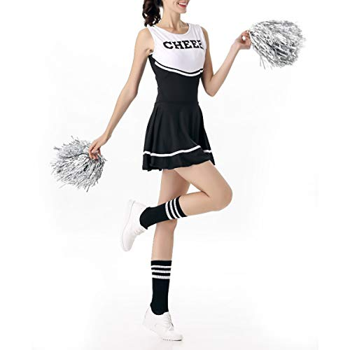 BESTOYARD Cheer Leader Costume Musical Party Sportveranstaltung Halloween Kostüm für Damen Mädchen (Schwarz/Weiß) Länge 77cm, Gr. M  (Weiß Kostüm Schwarz Halloween Und)