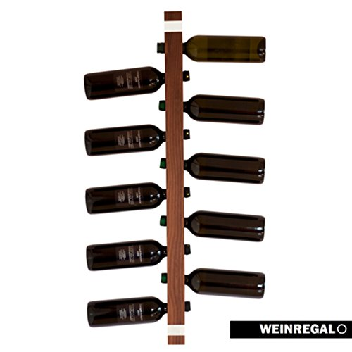 WEINREGALO Nussbaum | Das moderne Design Weinregal / Flaschenregal aus Holz für Ihre Wand (Flaschenregal für 11 Weinflaschen, 100 x 5 x 5 cm, dekorativ für Wohnzimmer oder Küche)
