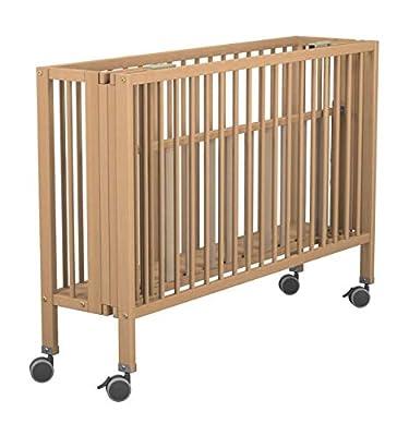 Cuna de madera natural 60 x 120 plegable. Incluye ruedas con freno. Perfecta para guardar en lugares de espacio muy reducido