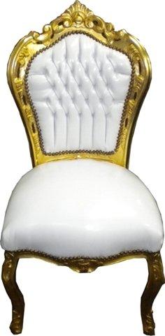 Barock Esszimmer Stuhl Weiß/Gold Ludwig XIV Stuhl Wohnung Wohnen Rokoko Jugendstil Edel