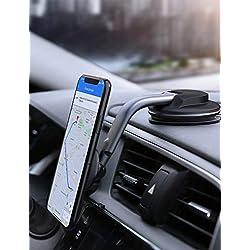 AUKEY Support Téléphone VoitureMagnétique Rotation à 360 Degrés Tableau de Bord Support Voiture pour iPhone XS / 8/7 Plus / 6, Samsung, Huawei et GPS