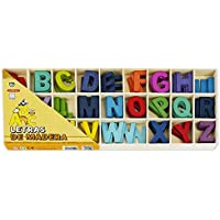 Starplast 132198 - Caja con Juego de Letras de Madera de Colores, tamaño 5,5x4cm, 5 Unidades de Cada Letra