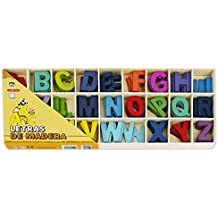 Starplast 132198 - Caja con Juego de Letras de Madera de Colores, tamaño 5,