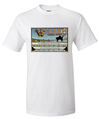 Salem, Massachusetts - Halloween Greeting - Cat on Fence - Vintage Artwork (Premium T-Shirt)