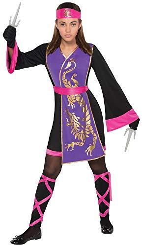Das Kostümland Ninja Samurai Kostüm für Mädchen - Schwarz Pink Gr. 8-10 Jahre