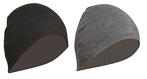 Gajraj WV01RCA08100 Cotton Helmet Cap (Black and Grey, Pack of 2)