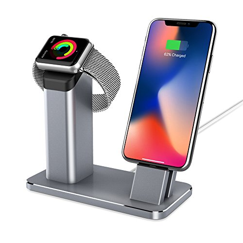 YOOTECH Apple Watch Stand, Aluminium 2 in 1 Apple Armbanduhr Ständer Ladestation, Docking Station für iPhone X/8/8Plus/7/7Plus/6S/6S Plus/Apple Watch Serie - 5s Fälle Iphone Otterbox