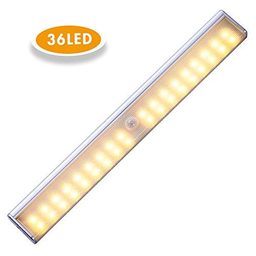 Schrankbeleuchtung 36 LED, Cynthia USB kabellose Schranklicht, Nachtlichter mit Bewegungsmelder,mit einem Magnetstreifen installieren,Ideal für Kabinett Dachböden Treppe Kleiderschrank (Warmweiß)
