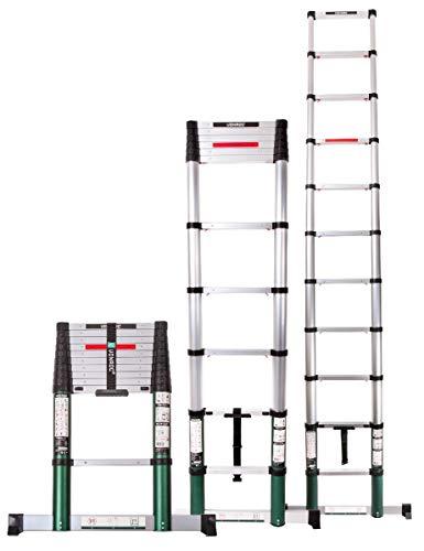 VONROC Profi Teleskopleiter 3,8 Meter, gemäß DEKRA-Zertifizierung und EN 131, sehr robust gebaut und montiert für Ihre Sicherheit - mit Softclose-System und Querträger für zusätzliche Stabilität