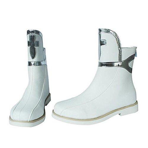 Damen PU Silber Kreuz Hinten Reißverschluss COS Kostüm,White,39 (Kostüme Plattform Stiefel)