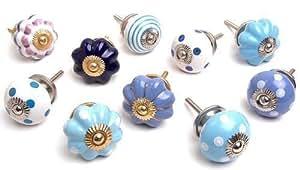 Mixed set of blue white ceramic cupboard knobs x pack 10 - Pomelli ceramica per cucina ...