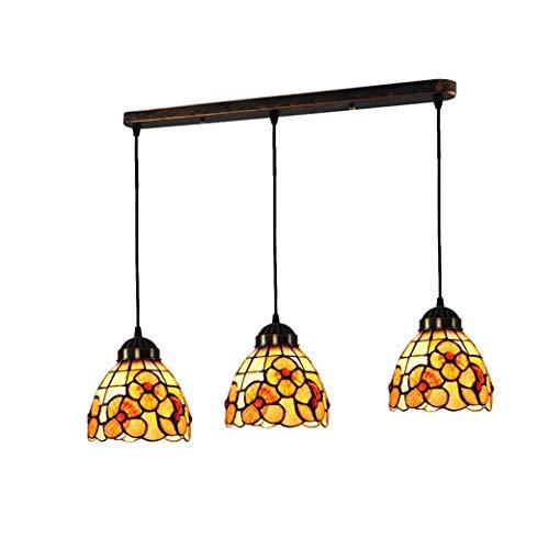 Tiffany-Stil Mini Hängelampe, 5 Zoll Lange Platte Shell Lampenschirm Deckenleuchte, Anhänger Beleuchtung Für Schlafzimmer Esszimmer, E26 / E27 X 3 - Tiffany Mini Anhänger Lampe