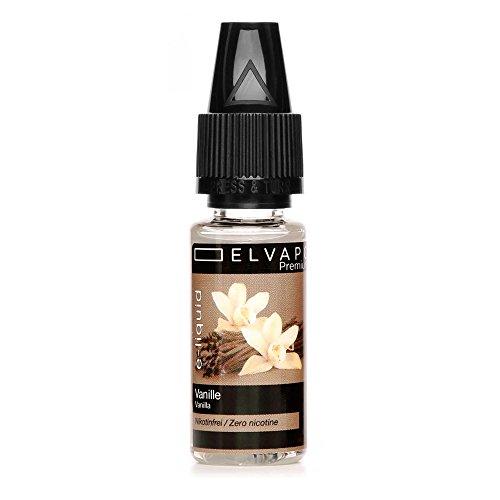 Elvapo Premium E-LIQUID Vanille Flasche mit extra schmalem Tropfaufsatz, 10 ml