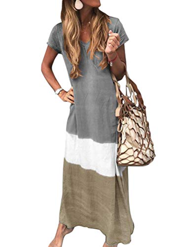 Minetom Sommerkleider Damen Kurzarm Kleider Casual Loose V-Ausschnitt Strandkleider Farblock Boho Maxikleider Böhmen Baumwolle Leinen Kleid A Grau DE 36