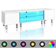 vidaXL Mesita para TV color blanco brillante con luces LED, 160 cm