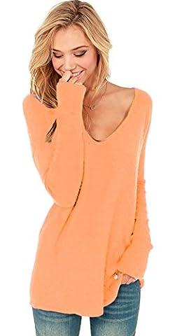 Damen V-Ausschnitt Lose Langarm Oberteile Frühling Strickpullover Oversize Lang Sweatshirt Tops (652) (L/XL, Apricose)