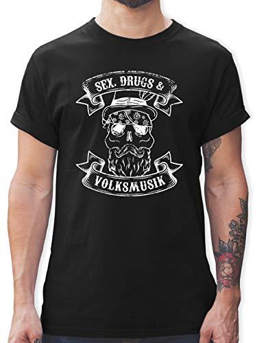 Oktoberfest Herren - Sex Drugs Volksmusik Totenkopf - XL - Schwarz - L190 - Herren T-Shirt und Männer Tshirt (Witzig Droge Kostüm)