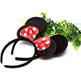Partysanthe Minnie Mouse Headband / Minnie Mouse Happy Birthday Decoration / Minnie Mouse Happy Birthday Party Supplies/Ears Head Band - Red (Red) 5pcs