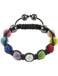 Daniadream - Bracelet Shamballa 9 perles multi couleurs 10 mm et boules hématites