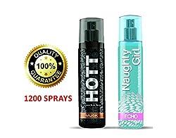 Hott MUSK & Naughty Girl ECHO Perfume Combo For Couple, 135ml (Each)