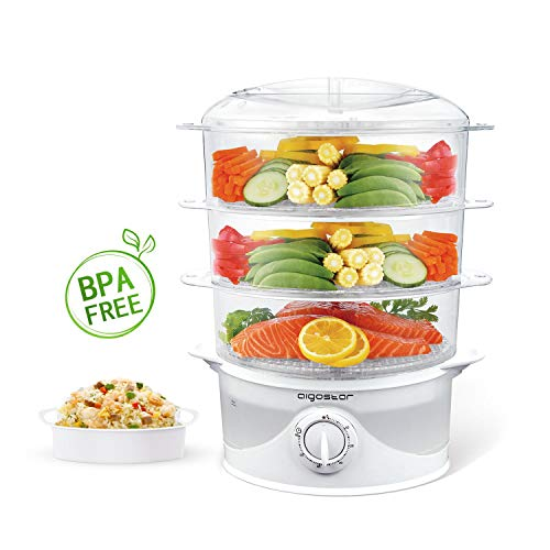 Aigostar Fitfoodie 30CFO - Cuiseur vapeur électrique 0% BPA. Puissance de 800W, minuterie, 3 niveaux indépendants de cuisson. Cuisine...