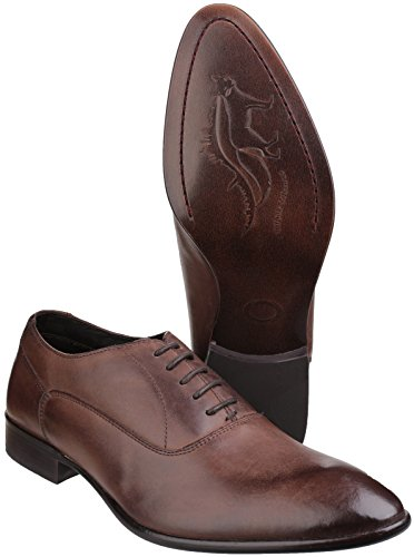 Base London Mens Holmes Casual Leather Everyday Oxford Lace Up Shoes Brown