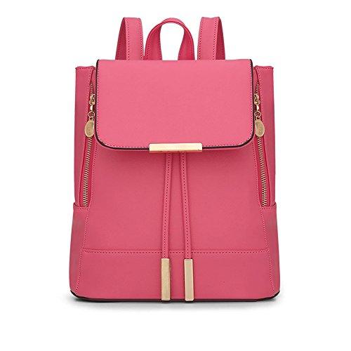 LaoZan Donne Casuale Elegante Solido Colore Preppy Stile Zaini Pink Chiaro Anguria Rossa