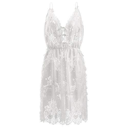 Pyjamas Frauen Sexy Lace Cutout Nachthemd Split Side V-Ausschnitt Low Neckline Open Back Nachthemd Sleepdress Cut Homedress (Color : White, Size : One Size) ()