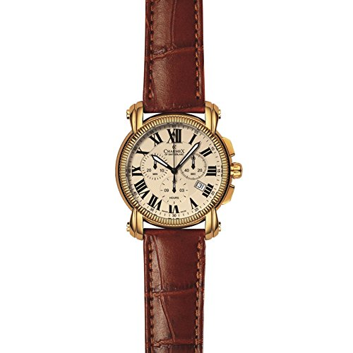 CHARMEX Men's Arosa 42MM Brown Leather Band Steel CASE Quartz Watch 2445